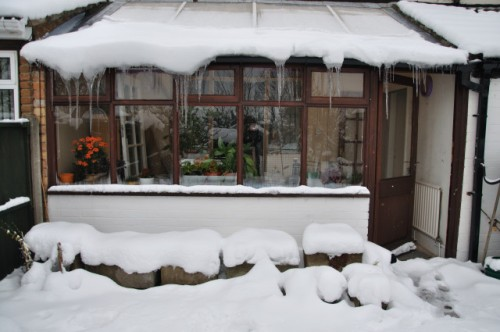 Conservatory with Ice 24th March 2013